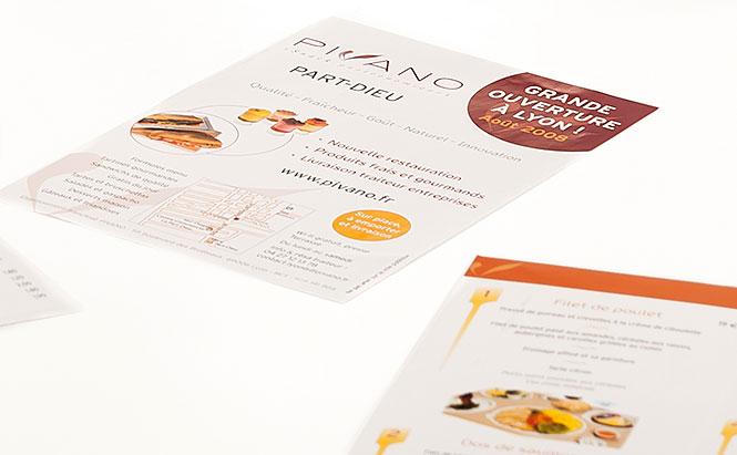 Pivano - supports de vente des 3 offres Coffrets traiteur, Plateaux repas et Sélections boutique