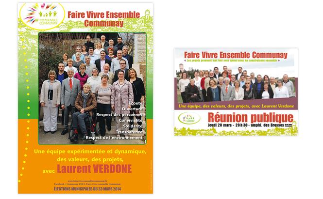 Liste électorale Faire Vivre Ensemble Communay - affiches