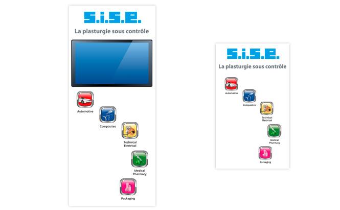 SISE - design graphique pour un stand - totems